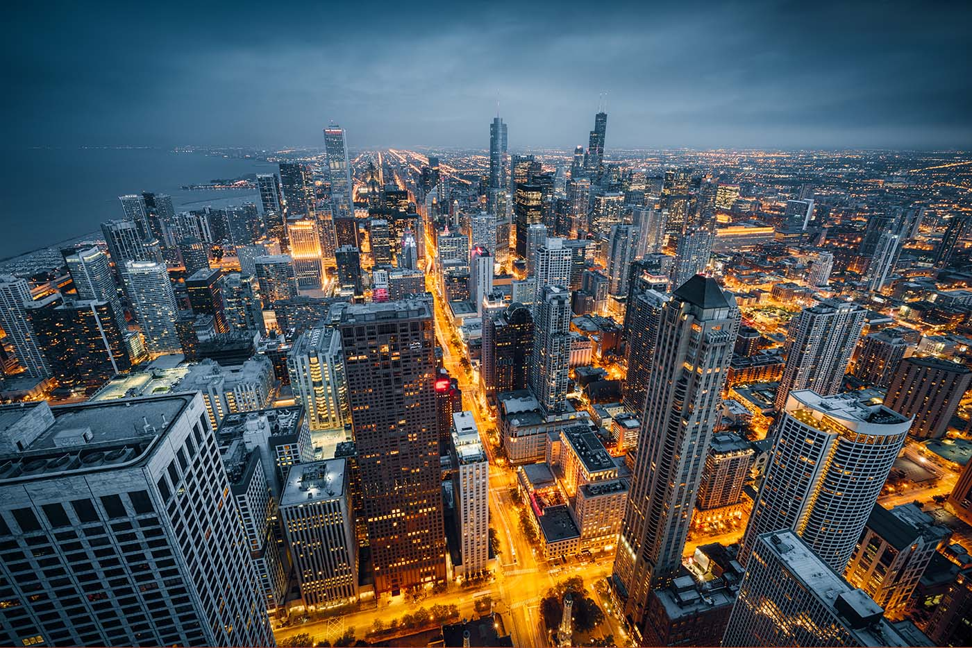 Chicago Skyline at Night colorized