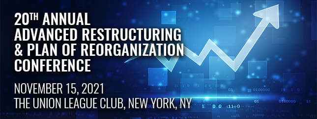 Digital concept of stock going up for 20th Annual Advanced Restructuring and Plan of Reorganization Conference header image